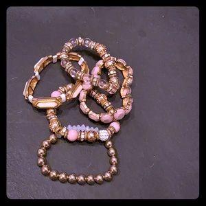 Pink/mauve and gold bracelet bundle